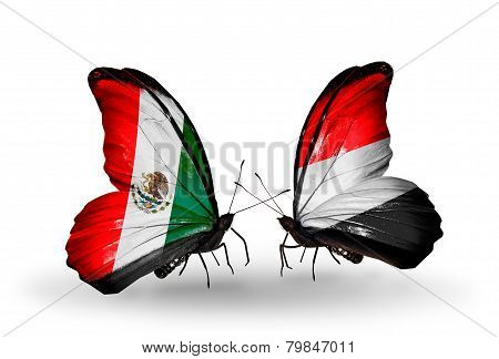 Two Butterflies With Flags On Wings As Symbol Of Relations Mexico And Yemen