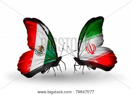 Two Butterflies With Flags On Wings As Symbol Of Relations Mexico And  Iran