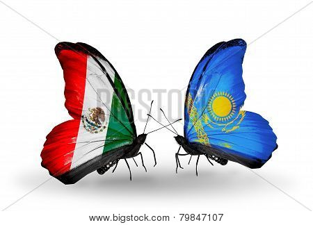 Two Butterflies With Flags On Wings As Symbol Of Relations Mexico And Kazakhstan