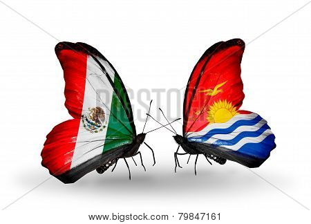 Two Butterflies With Flags On Wings As Symbol Of Relations Mexico And Kiribati