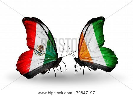 Two Butterflies With Flags On Wings As Symbol Of Relations Mexico And Cote Divoire