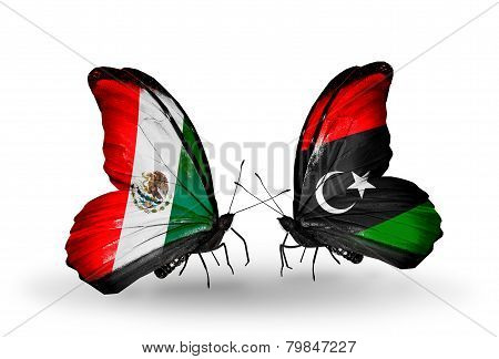 Two Butterflies With Flags On Wings As Symbol Of Relations Mexico And Libya