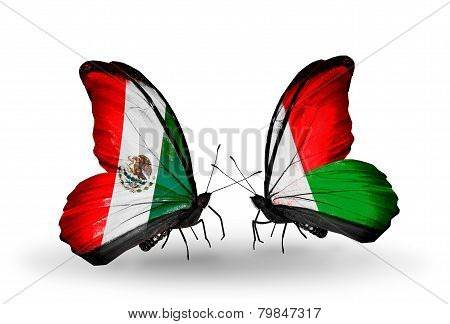 Two Butterflies With Flags On Wings As Symbol Of Relations Mexico And Madagascar