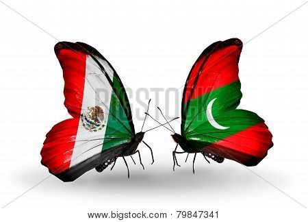 Two Butterflies With Flags On Wings As Symbol Of Relations Mexico And  Maldives