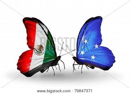 Two Butterflies With Flags On Wings As Symbol Of Relations Mexico And  Micronesia