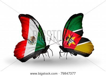 Two Butterflies With Flags On Wings As Symbol Of Relations Mexico And  Mozambique