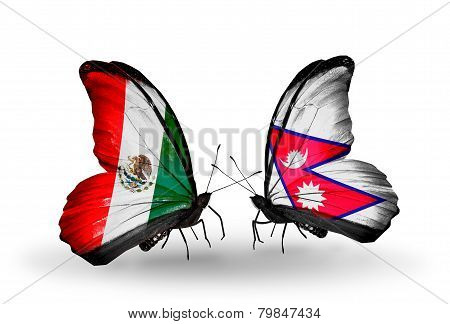 Two Butterflies With Flags On Wings As Symbol Of Relations Mexico And  Nepal