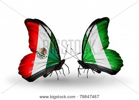 Two Butterflies With Flags On Wings As Symbol Of Relations Mexico And  Nigeria