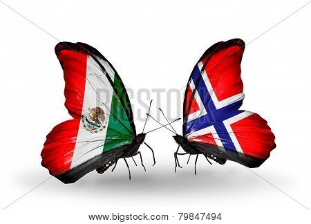 Two Butterflies With Flags On Wings As Symbol Of Relations Mexico And  Norway