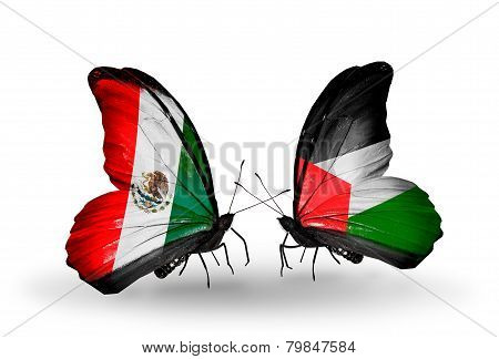 Two Butterflies With Flags On Wings As Symbol Of Relations Mexico And Palestine