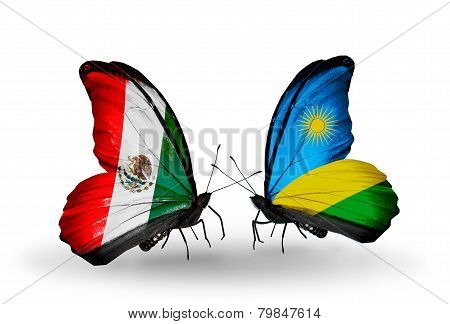 Two Butterflies With Flags On Wings As Symbol Of Relations Mexico And Rwanda