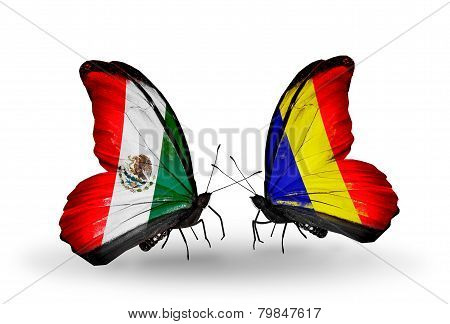 Two Butterflies With Flags On Wings As Symbol Of Relations Mexico And Chad, Romania