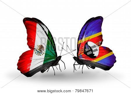 Two Butterflies With Flags On Wings As Symbol Of Relations Mexico And Swaziland