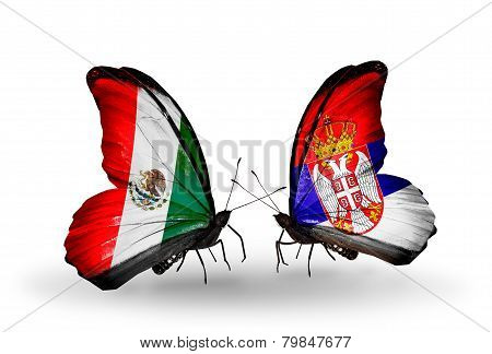 Two Butterflies With Flags On Wings As Symbol Of Relations Mexico And Serbia