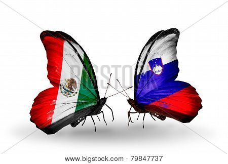 Two Butterflies With Flags On Wings As Symbol Of Relations Mexico And Slovenia
