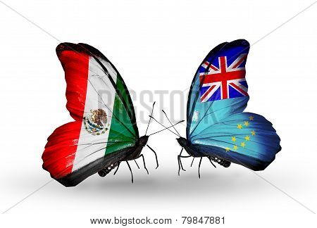 Two Butterflies With Flags On Wings As Symbol Of Relations Mexico And Tuvalu