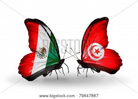 Two Butterflies With Flags On Wings As Symbol Of Relations Mexico And Tunisia