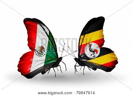 Two Butterflies With Flags On Wings As Symbol Of Relations Mexico And Uganda