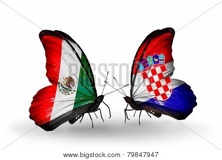 Two Butterflies With Flags On Wings As Symbol Of Relations Mexico And Croatia