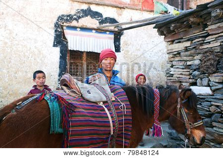 Buddhist Monks With Horse In Tsum Valley, Nepal