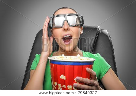 Viewer Watching 3D Cinema.