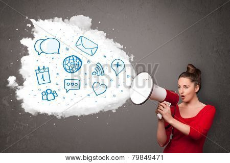 Young woman shouting into loudspeaker and modern blue icons and symbols come out