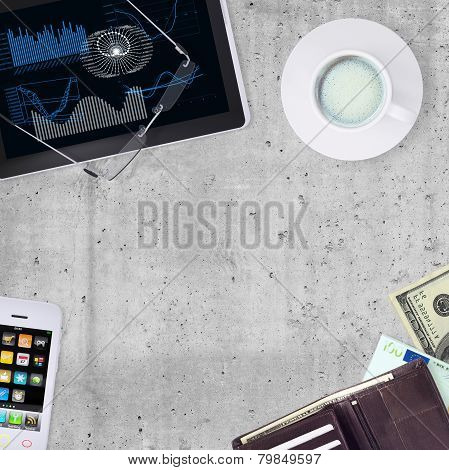 Tablet PC, smartphone, cup of coffee and wallet