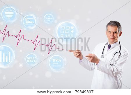 Clinical doctor examinating modern heartbeat graphics