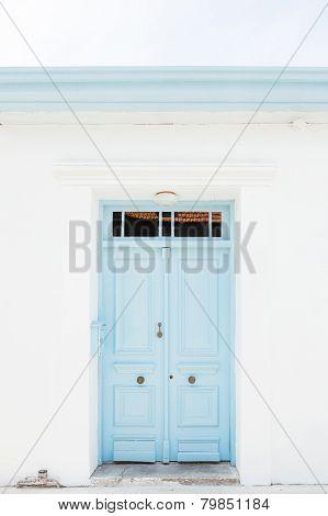 Wooden light blue (turquoise) door