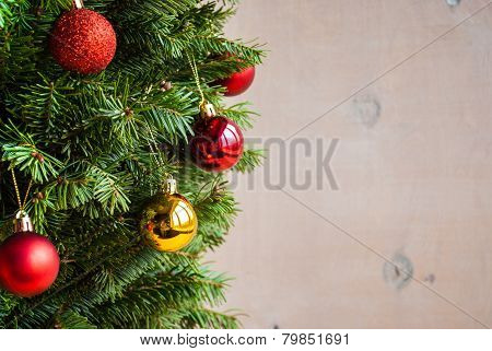 Wooden Christmas Background With Decorated Tree. Horisontal