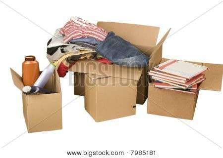 Transport Cardboard Boxes With Books And Clothes
