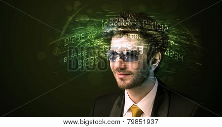 Business man looking at high tech number calculations concept