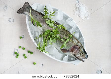 Fresh Trout On Ice With Salad Rocket, Green Peas, Sea Salt On Wooden Table
