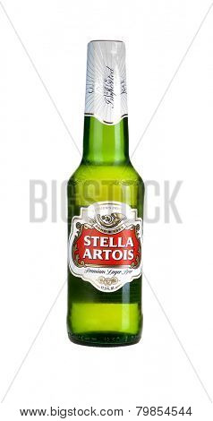 Hayward, CA - January 5, 2015: Bottle of Stella Artois premium Lager beer