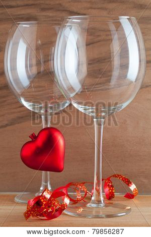 Two Glasses  Of Wine And Red Heart