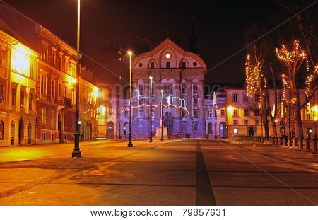 Congress square & Ursuline church, decorated for Christmas and New Year's holidays, Ljubljana, Slove