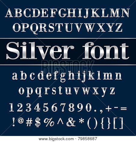Vector silver coated alphabet letters and digits on blue background