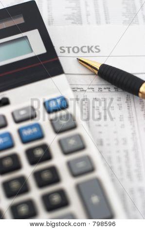 Stock, share market table analysis