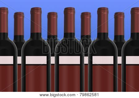 Wine Bottles With Blue Background