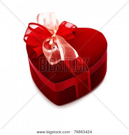 red love heart gift box over white