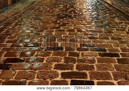 Melting snow on the cobbled street at night