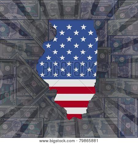 Illinois map flag on dollars sunburst illustration