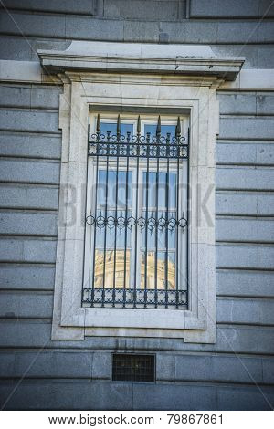 Old window, Almudena Cathedral, located in the area of the Habsburgs, classical architecture