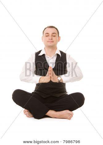 Businessman Sitting In Lotus Pose