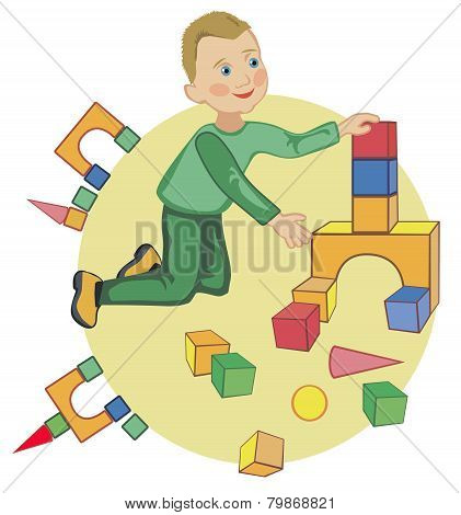 The Kid Plays With Cubes