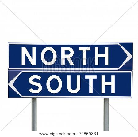 Blue Direction Signs with choice between North or South isolated on white background