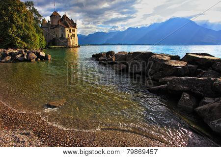Lake Geneva in the fall on a sunny day. Montreux, Switzerland