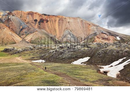 The famous Valley Landmannalaugar in Iceland. Multicolored rhyolite mountains with the remnants of last year's snow in July