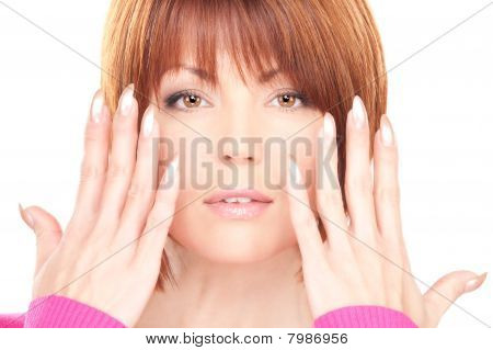 Woman Showing Hands With Polished Nails