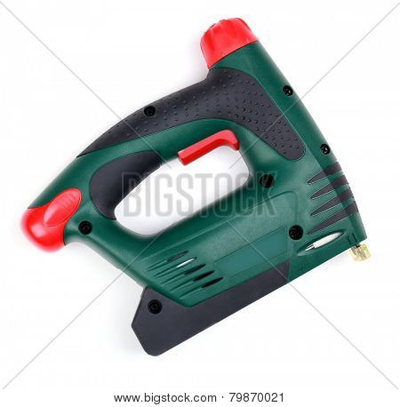 Construction stapler isolated on white